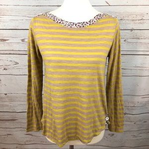 Anthropologie Postmark Striped Floral Top